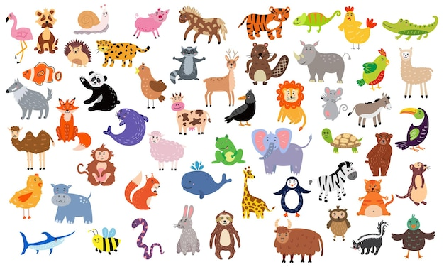 Grote set schattige dieren. kwekerijkarakters voor kinderontwerp. vector illustratie