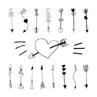 Grote set schattige doodle liefde pijlen met hart pictogrammen. hand getekend vectorillustratie. lief element voor wenskaarten, posters, stickers en seizoensontwerp. geïsoleerd op witte achtergrond