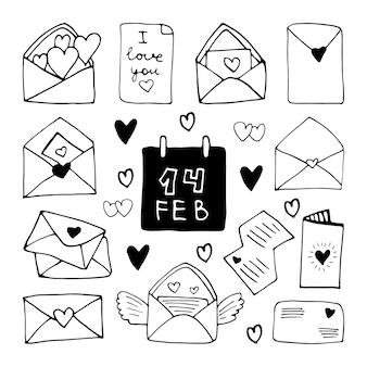 Grote set schattige doodle liefdesbrieven, envelop met hart pictogrammen. hand getekend vectorillustratie. lief element voor wenskaarten, posters, stickers en seizoensontwerp. geïsoleerd op witte achtergrond