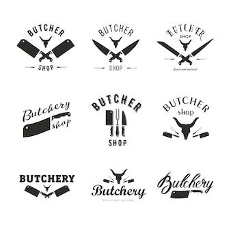 Grote set slagerij logo sjablonen. slagersetiketten met voorbeeldtekst. slagersontwerpelementen en boerderijdieren silhouetten voor boodschappen, vleeswaren, verpakking en reclame.
