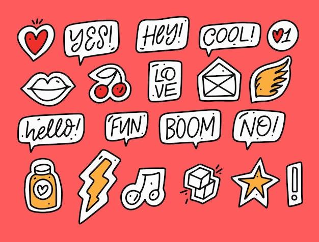 Grote set stickers teken en pictogram kleurrijke vectorillustratie