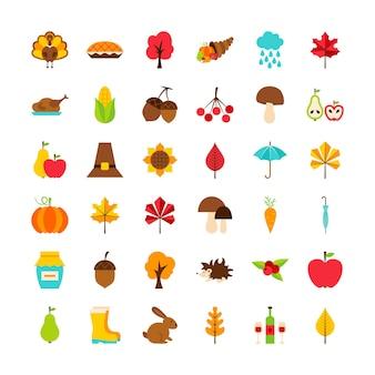 Grote set thanksgiving day-objecten. vectorillustratie. kleurrijke pictogrammen geïsoleerd over wit.