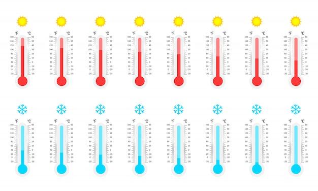Grote set thermometers. hoge en lage temperatuurverzameling