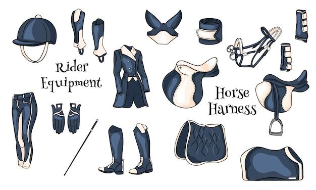 Grote set uitrusting voor de ruiter en munitie voor de paardillustratie in cartoon. zadel, deken, zweep, kleding, zadeldek, bescherming. collectie voor design en decoratie.