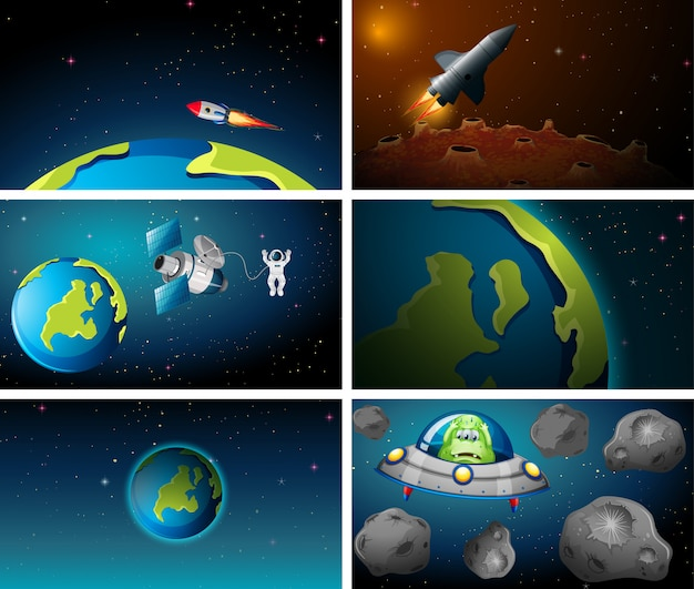Grote set van aarde en raket scène