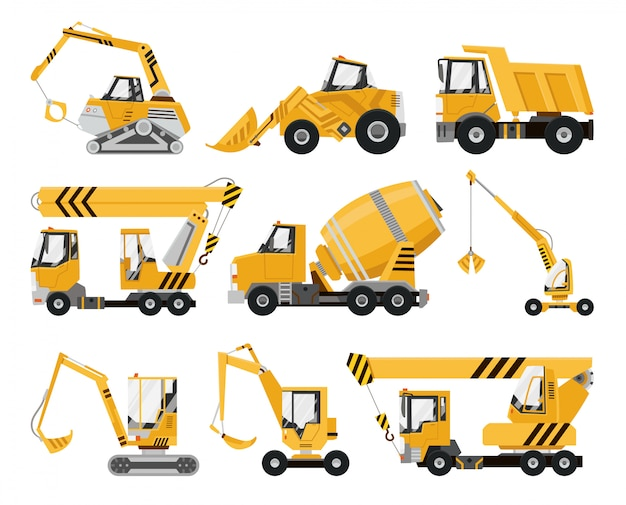 Grote set van bouwmachines