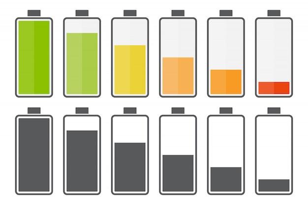 Grote set van pictogrammen voor het opladen van de batterij