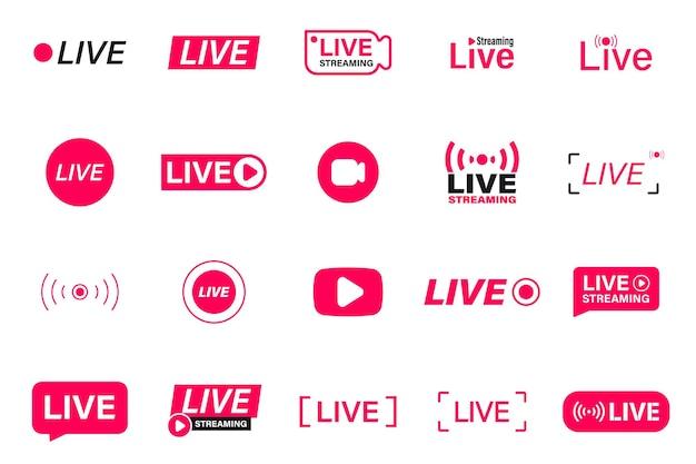Grote set van rode live streaming iconen. livestream, uitzending. live videostreaming. live-badge voor sociale media. online webinar, uitzending. sjabloon voor tv, shows, films en live optredens