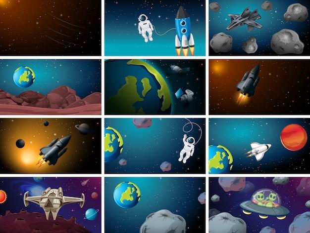 Grote set van ruimtescènes