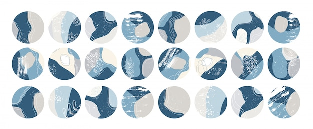 Grote set van verschillende hoogtepunten omslagen. abstracte vormen, doodle-objecten. hand getrokken sjablonen. ronde pictogrammen voor verhalen op sociale media.