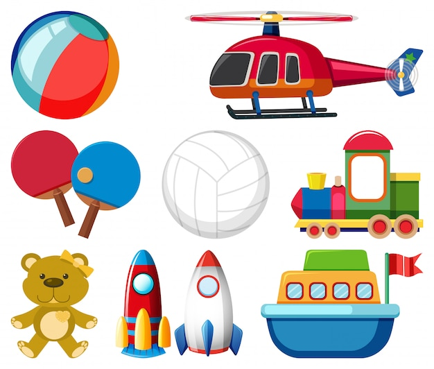 Grote set verschillende speelgoed op witte achtergrond