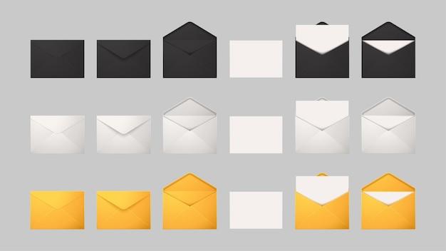 Grote set verschillende voorwaarden voor e-mail van gesloten tot open geïsoleerd