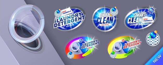 Grote set wasmiddelbanners voor slim schoon sjabloon voor wasmiddel