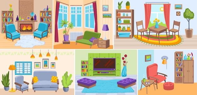 Grote set woonkamer interieur plaats vijf verschillende woonplaats conceptontwerp