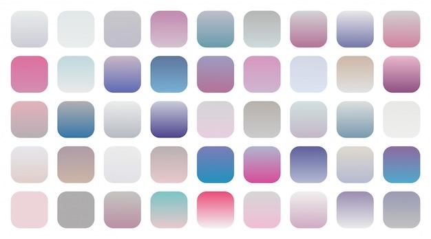 Grote set zachte kleurovergangen combinaties stalen