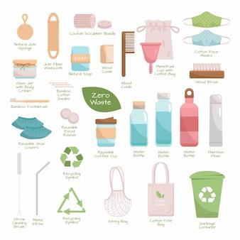 Grote set zero waste recycle- en herbruikbare producten. ga voor groen, eco-stijl, geen plastic, bewaar de planeetobjecten voor thuis, winkelen en cosmetica. duurzame collectie met titels