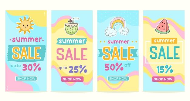 Grote set zomerverkoop banner plezier voor kinderen product social media posting