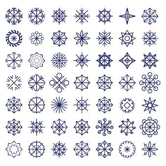 Grote sneeuwvlokken instellen. kleurrijke kerst textuur, nieuwjaar patroon.
