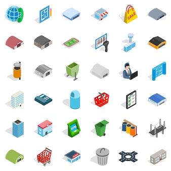 Grote stad iconen set, isometrische stijl