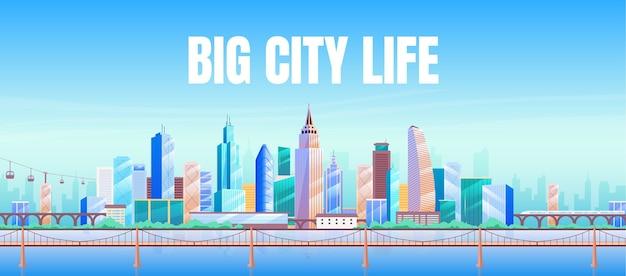 Grote stad leven platte sjabloon voor spandoek