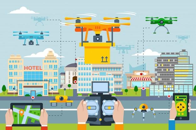 Grote stad moderne technologieën concept met mensen die drones lanceren door verschillende applicaties op een apparaat