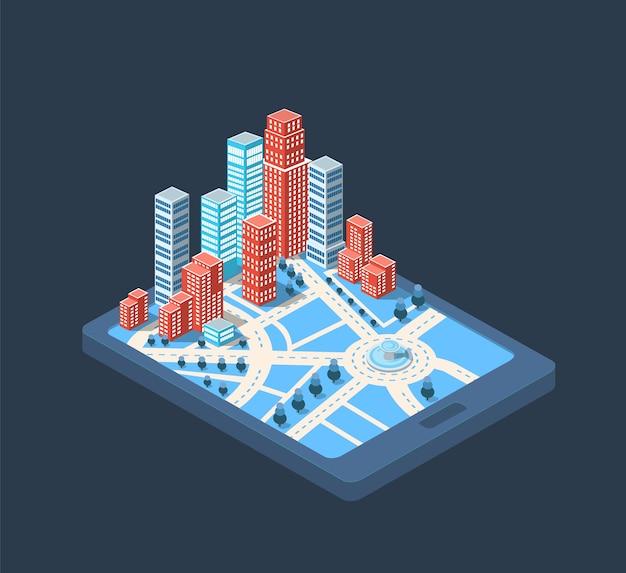Grote stad wolkenkrabbers gebouwen in het centrum van de grote stad