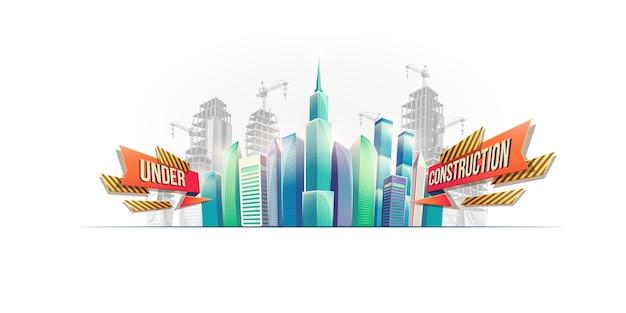 Grote stadsgebouwen op de achtergrond van gebouwen in aanbouw