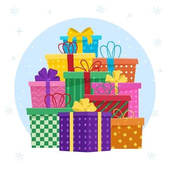 Grote stapel kleurrijke verpakte geschenkdozen. collectie voor verjaardag, kerstmis.