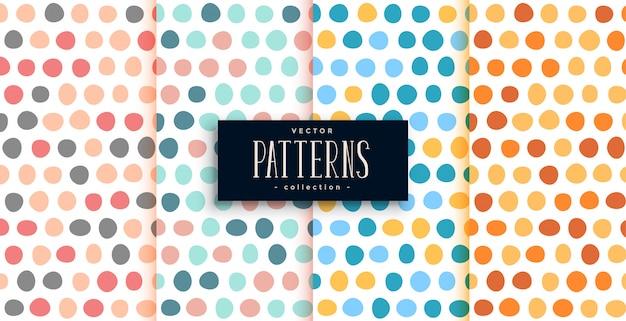 Grote stippen cirkels patroon set van vier