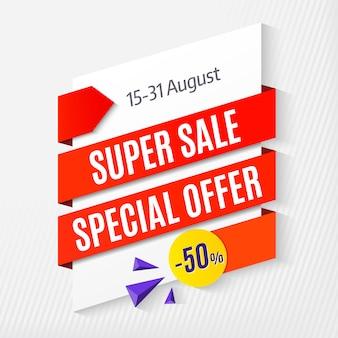 Grote super sale-aanbieding, bannermalplaatje 50% korting. illustratie