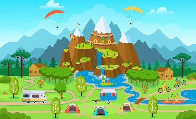 Grote toeristenkaart met zomerbosactiviteit, tenten, toeristenbusje, fietsers, een klimmer, mensen op kajaks, vissers.