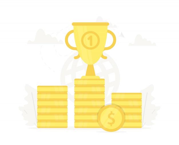 Grote trofee op het podium van gouden munten.