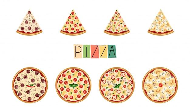 Grote vaste pizza. traditionele verschillende ingrediënten. italiaanse hele pizza met plakjes: margarita, zeevruchten, vegetarisch, pepperoni.