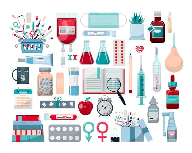 Grote vector medische set vaccinatie online gezondheid check medische diagnostiek sjabloon voor ziekenhuizen