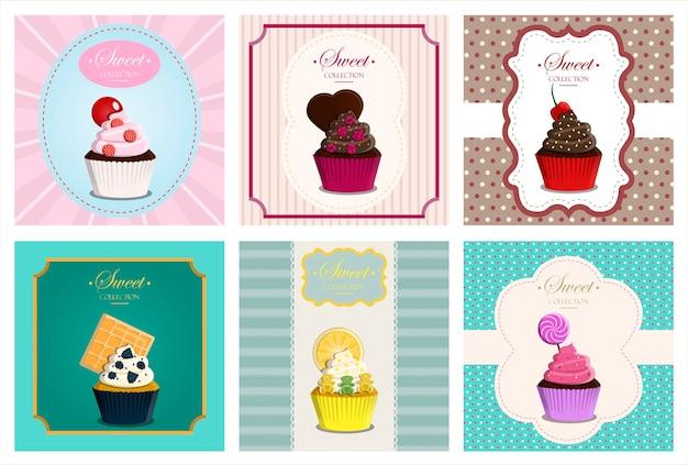 Grote vector retro set cupcakes met een geometrische achtergrond en retro elementen vector wenskaart