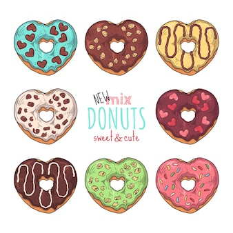 Grote vectorreeks verglaasde die donuts met bovenste laagjes, chocolade, noten wordt verfraaid.