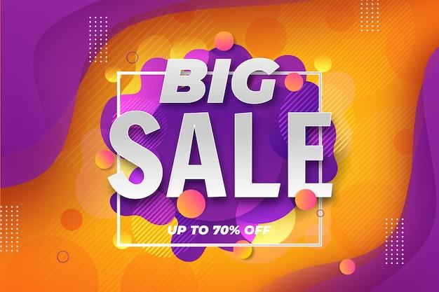 Grote verkoop 3d achtergrond met vloeibaar effect