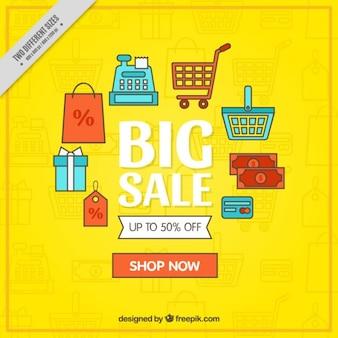 Grote verkoop achtergrond met aanbod elementen