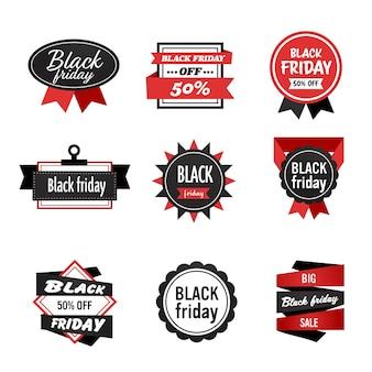 Grote verkoop badge set zwarte vrijdag speciale aanbieding verkoop promo marketing vakantie winkelen