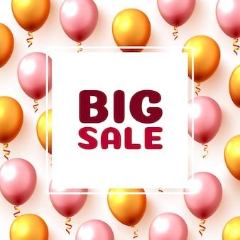 Grote verkoop ballon markt frame op de witte achtergrond. vector illustratie