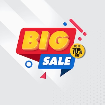 Grote verkoop banner ontwerpsjabloon met grijze achtergrond