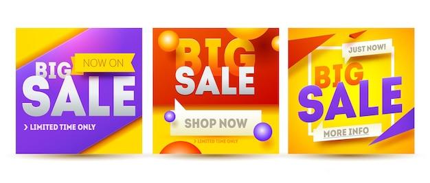 Grote verkoop banner set. verkoop en kortingen.
