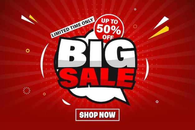 Grote verkoop banner sjabloonontwerp voor web of sociale media.