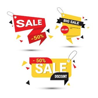 Grote verkoop banners instellen speciale aanbieding sjabloon tags collectie geïsoleerd