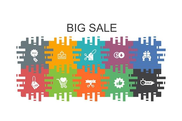 Grote verkoop cartoon sjabloon met platte elementen. bevat pictogrammen als korting, winkelen, speciale aanbieding, beste keuze