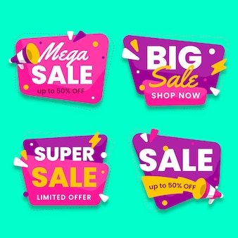 Grote verkoop chat bubbels ontwerp met flitsen banner collectie