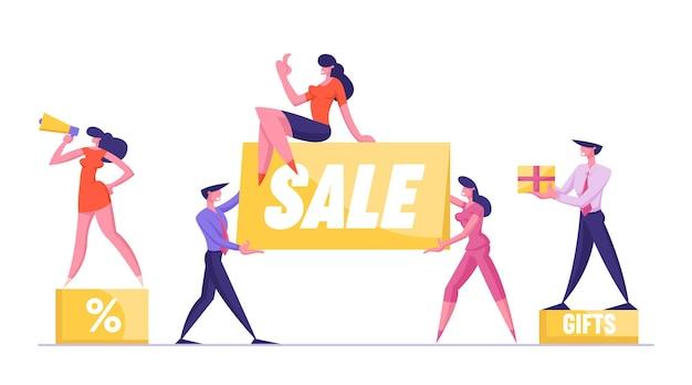 Grote verkoop concept vrouw promotor met megafoon staan op podium met procentteken