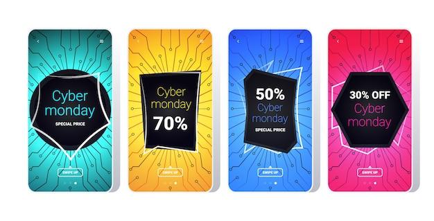 Grote verkoop cyber maandag printplaat stickers collectie speciale aanbieding vakantie shopping concept smartphoneschermen instellen online mobiele app-banners