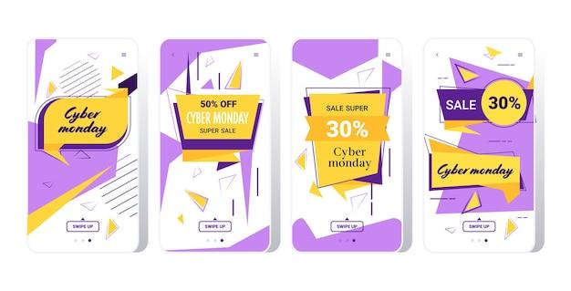 Grote verkoop cyber maandag stickers collectie speciale aanbieding vakantie shopping concept smartphoneschermen instellen online mobiele app banner