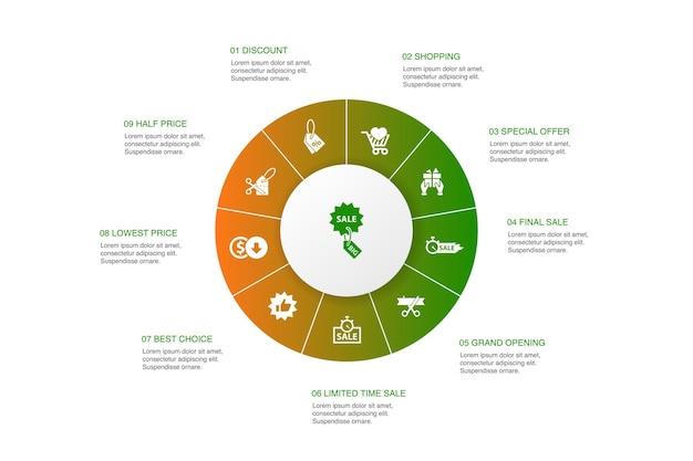 Grote verkoop infographic 10 stappen cirkel ontwerp. korting, winkelen, speciale aanbieding, beste keuze eenvoudige pictogrammen